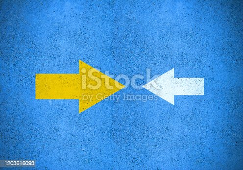 621936988 istock photo Strong yellow (idea) arrow against smaller old white (method) 1203616093