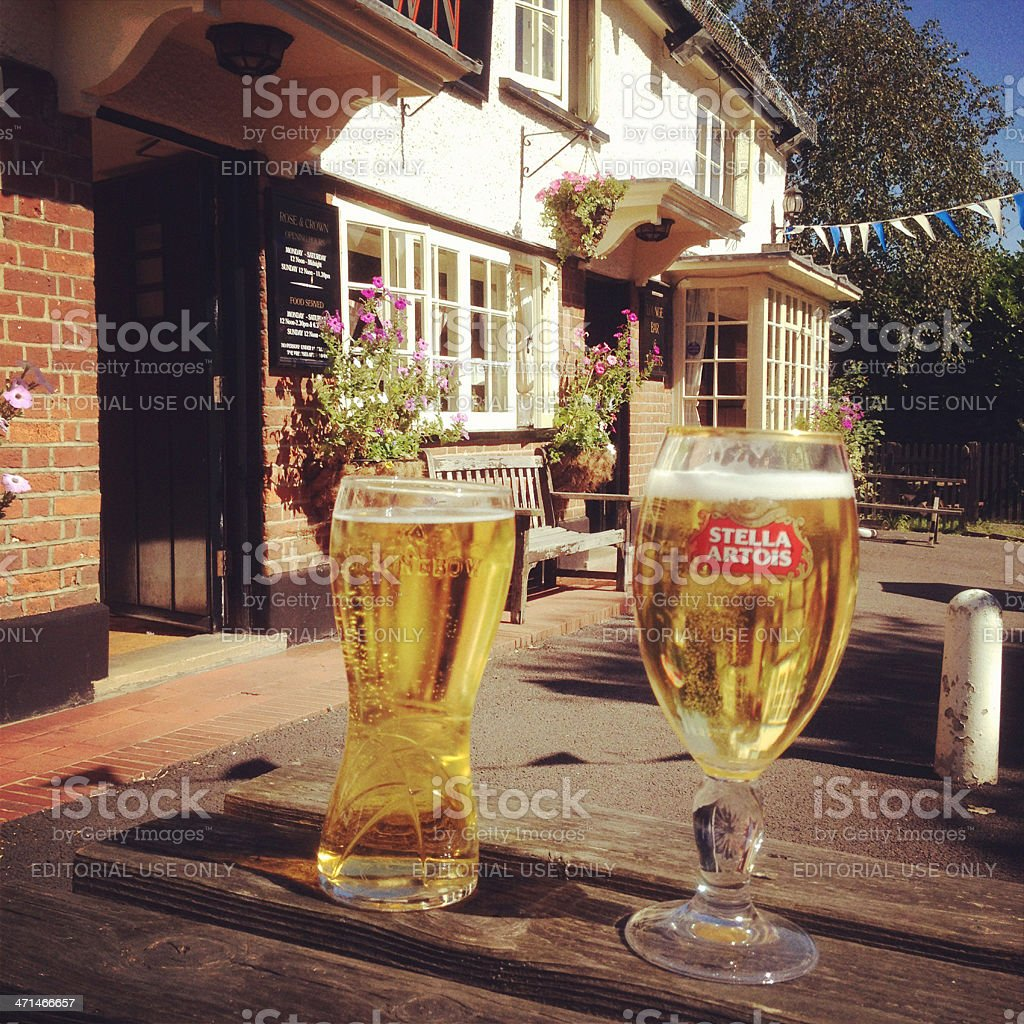 Strongbow Cider and Stella Artois Beer in a Beergarden stock photo