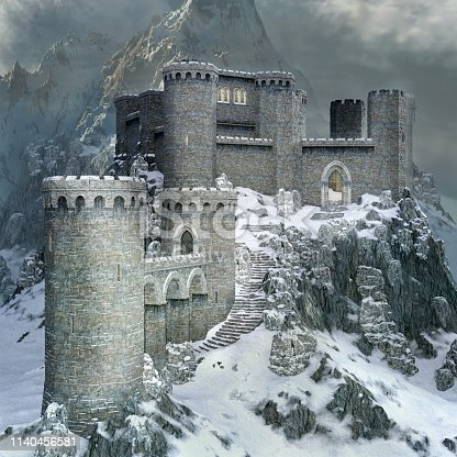Medieval castle in a winter scenery - 3D illustration