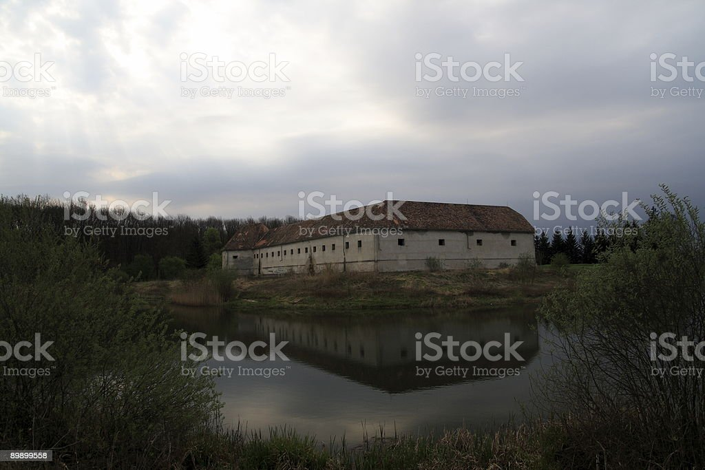 Stronghold under cloudy sky royalty-free stock photo