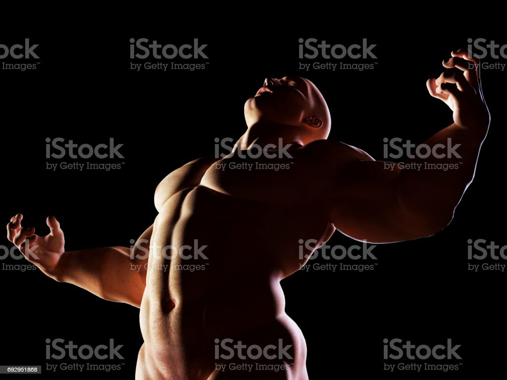 Strongman Hero Showing His Muscular Body In Winner Alpha Male Position Royalty Free