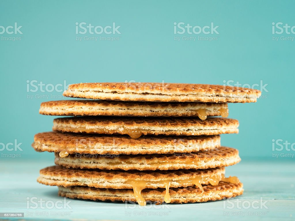 Stroopwafels or caramel Dutch Waffles stock photo