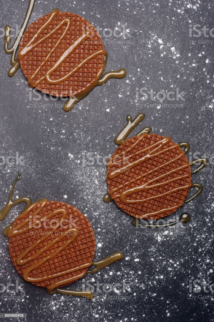 Stroopwafels with caramel sauce stock photo