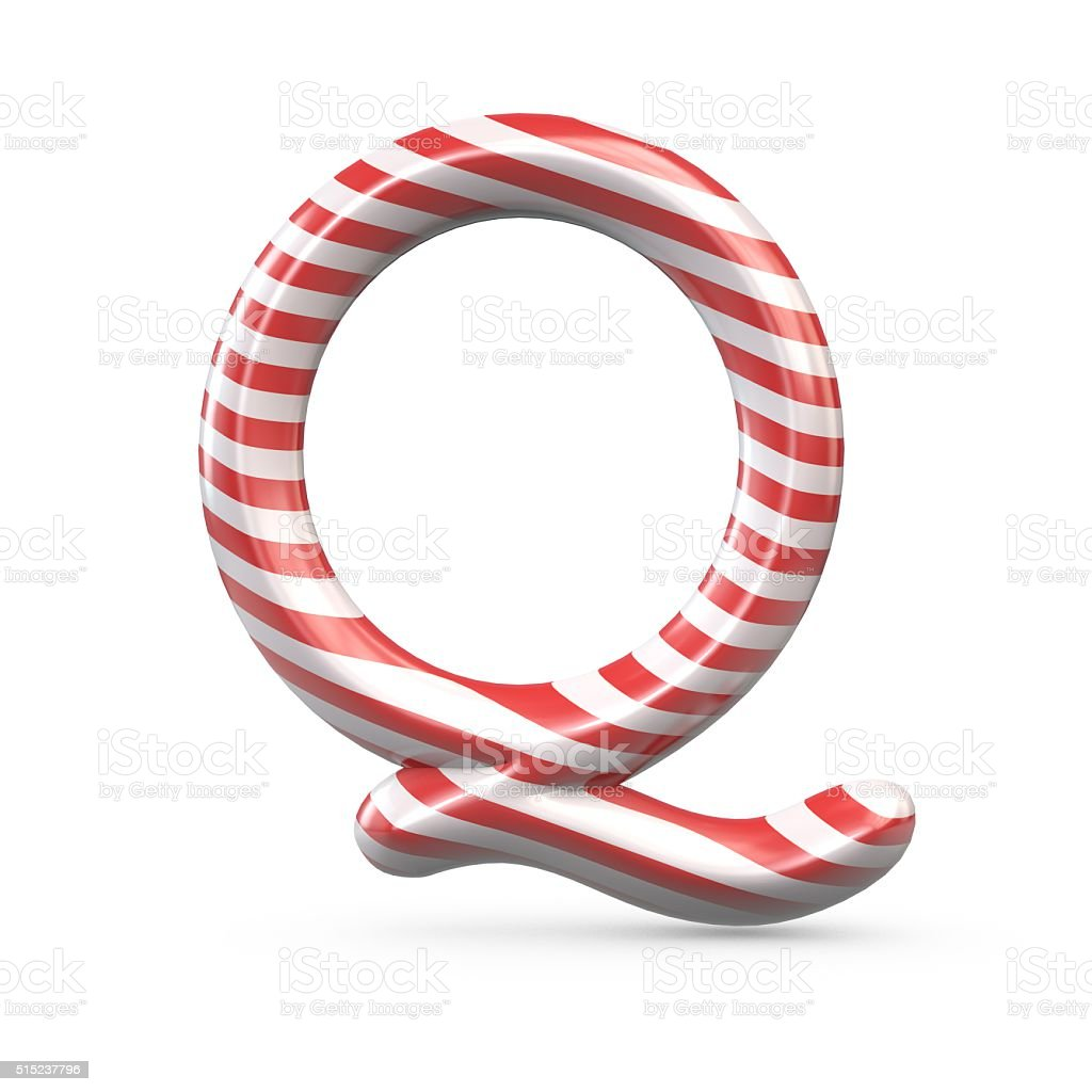 Strped candy cane capital letter Q stock photo