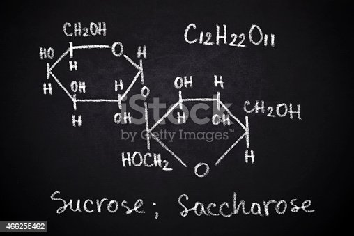 Structural chemical formula of sucrose on blackboard