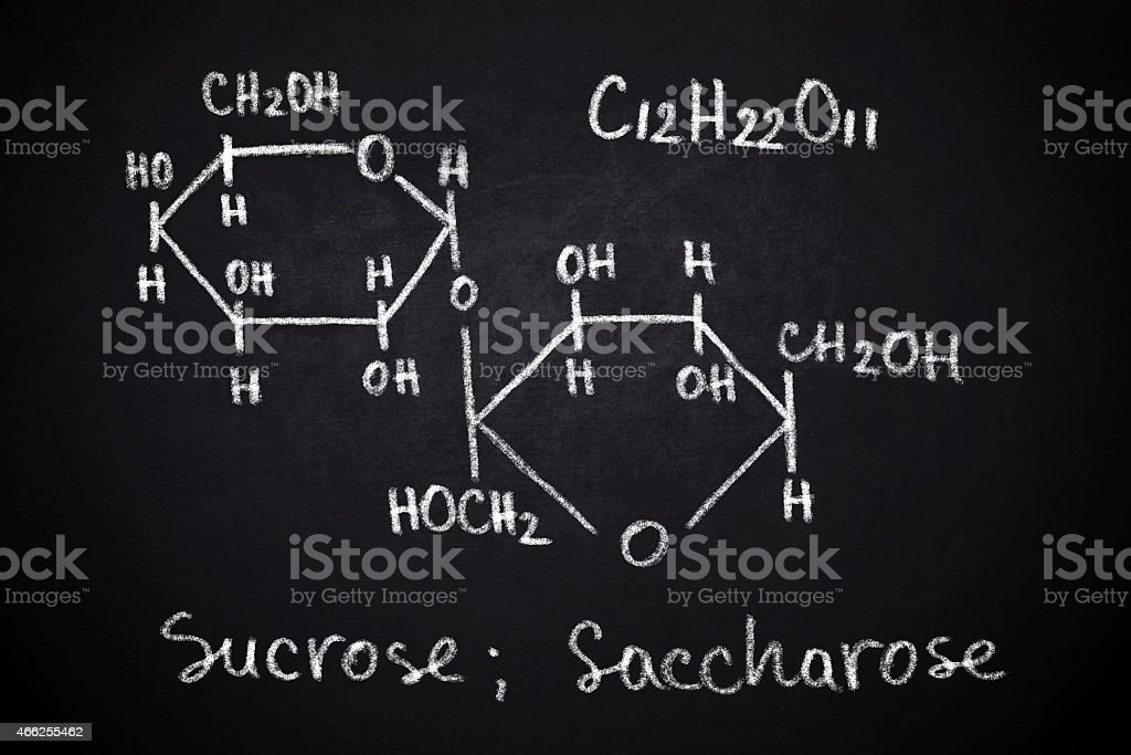Structural chemical formula of sucrose stock photo
