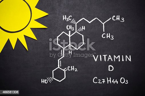 Structural chemical formula of vitamin D on blackboard