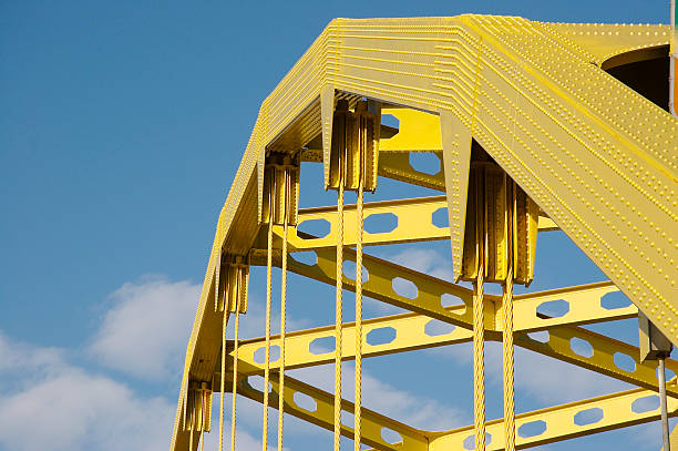 Structural detail of golden bridge Detail of Yellow Bridge pittsburgh stock pictures, royalty-free photos & images