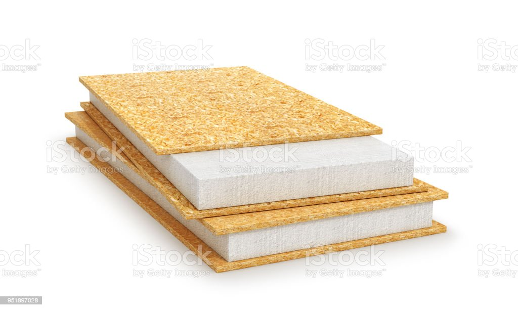 Structural insulated panel. 3d illustration stock photo