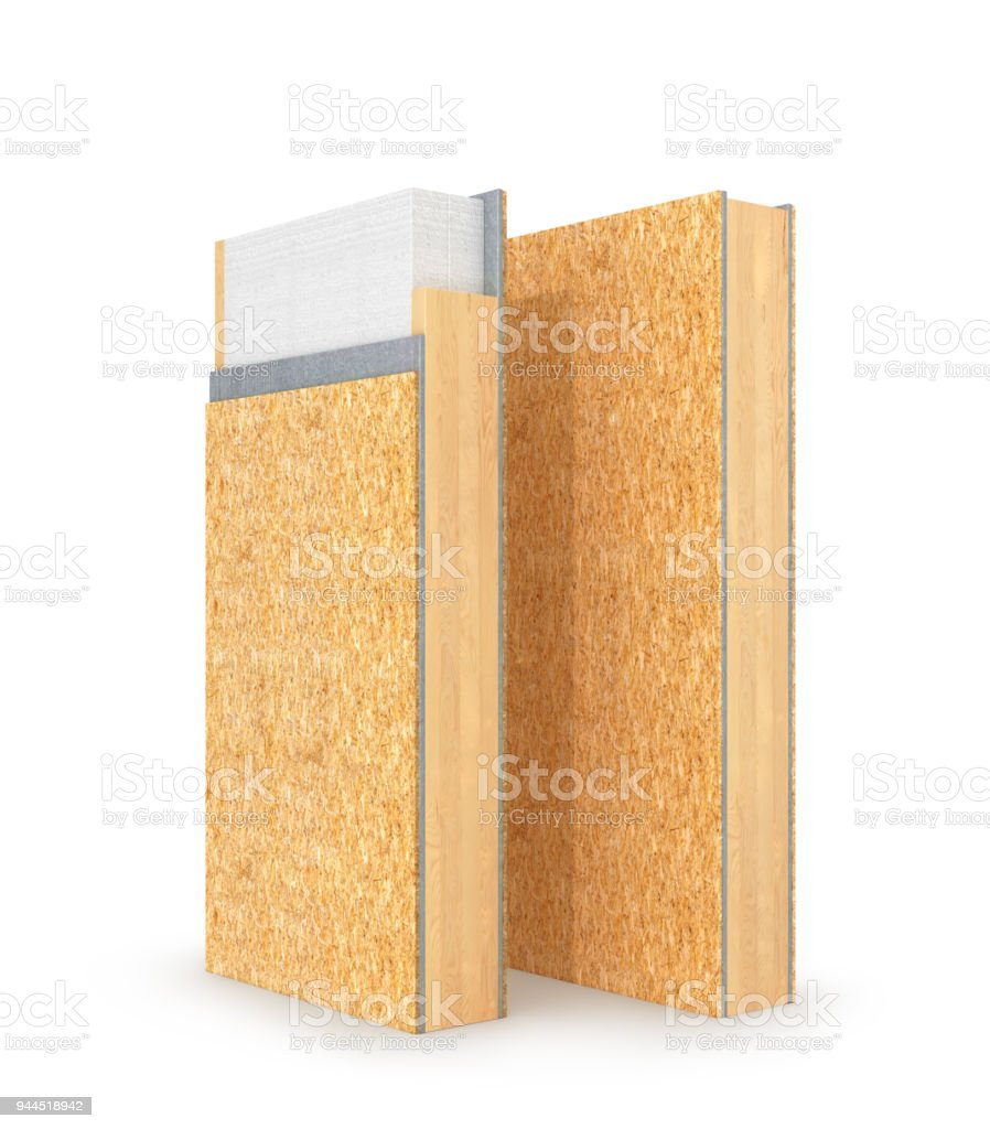 Structural insulated panel SIP. 3d illustration stock photo