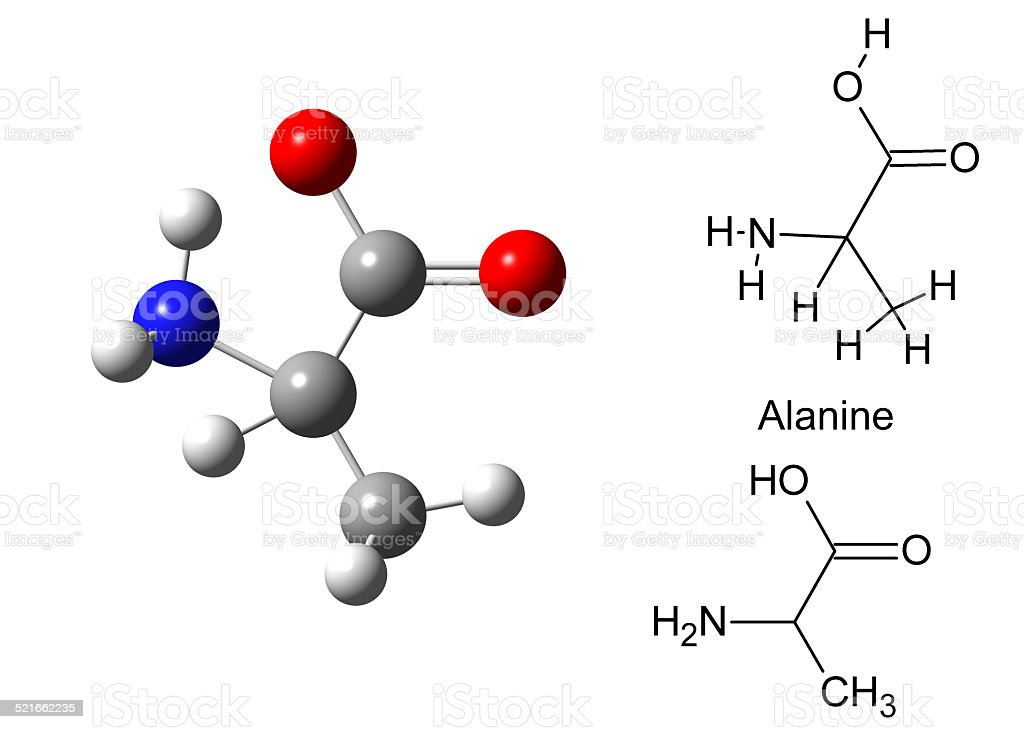 Structural model of alanine molecule stock photo