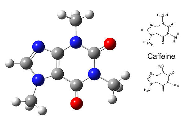 structural model of caffeine molecule - cyclic stock pictures, royalty-free photos & images