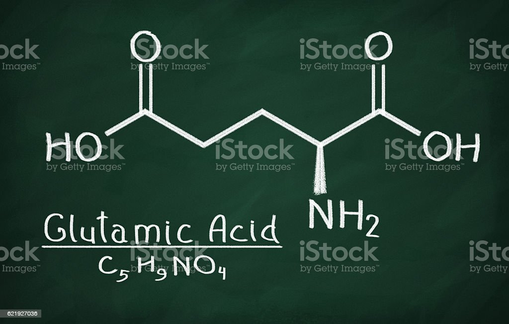 Structural model of Glutamic Acid stock photo