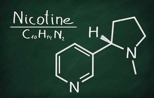 Structural model of Nicotine Structural model of Nicotine on the blackboard. nicotine stock pictures, royalty-free photos & images