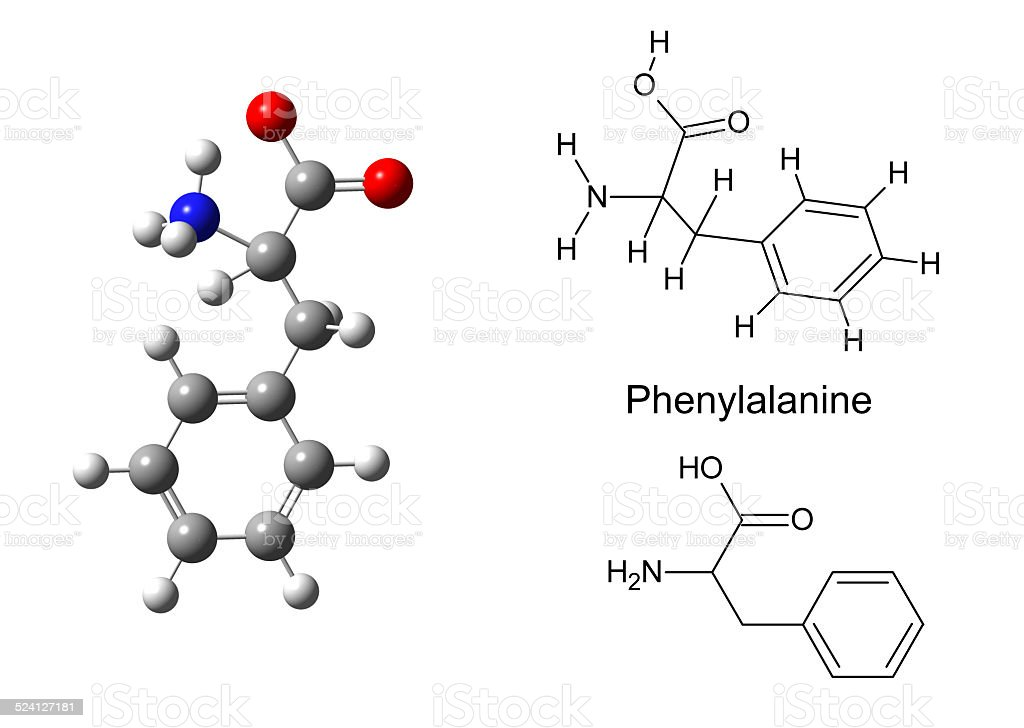 Structural model of phenylalanine molecule stock photo