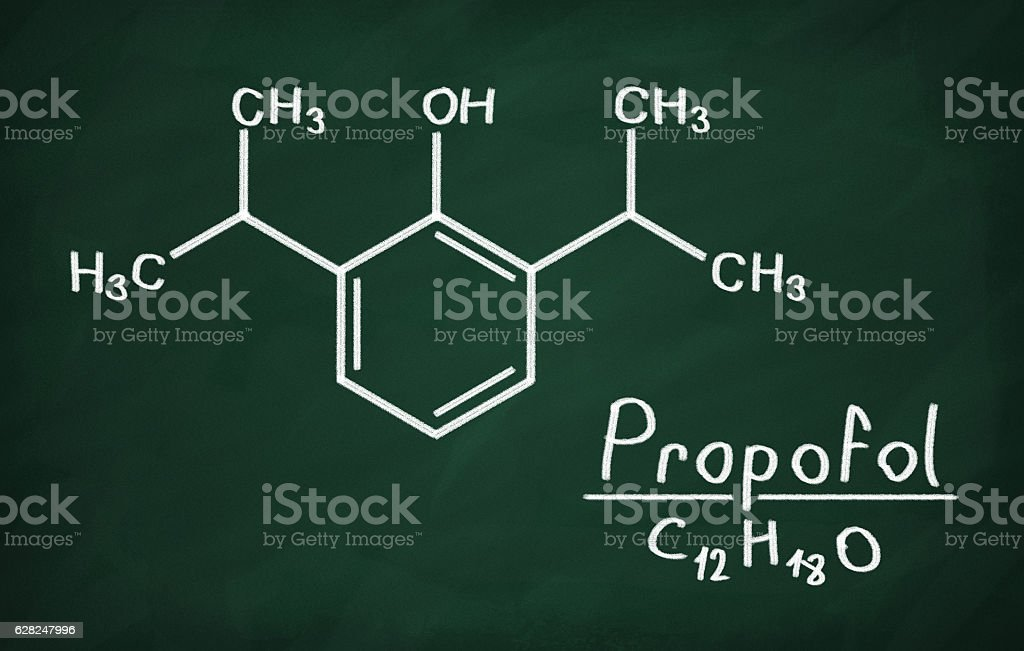 Structural model of Propofol stock photo