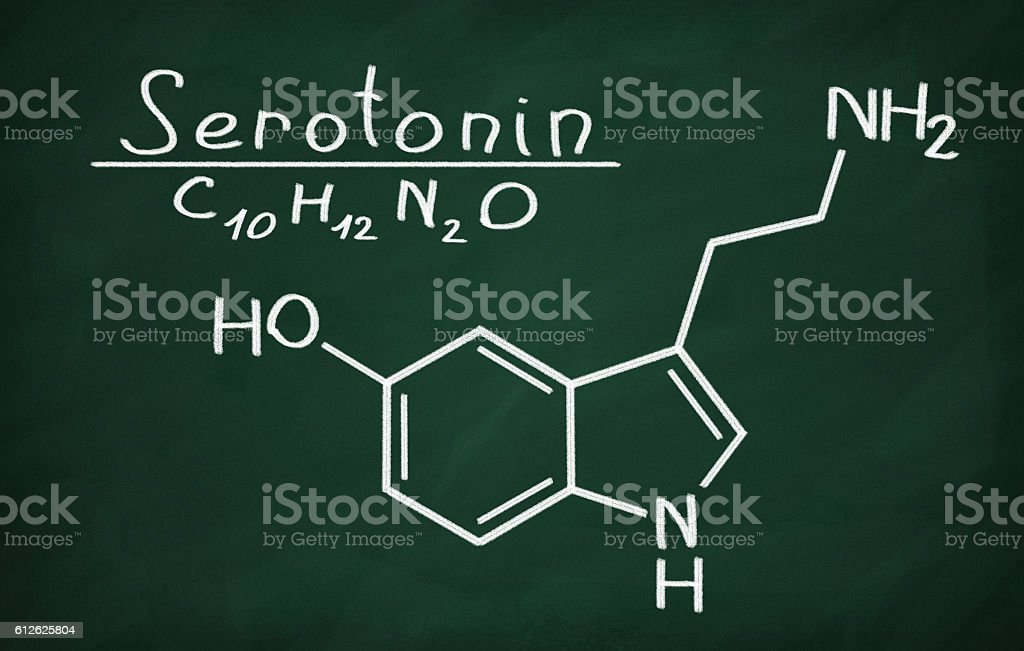 Structural model of Serotonin stock photo