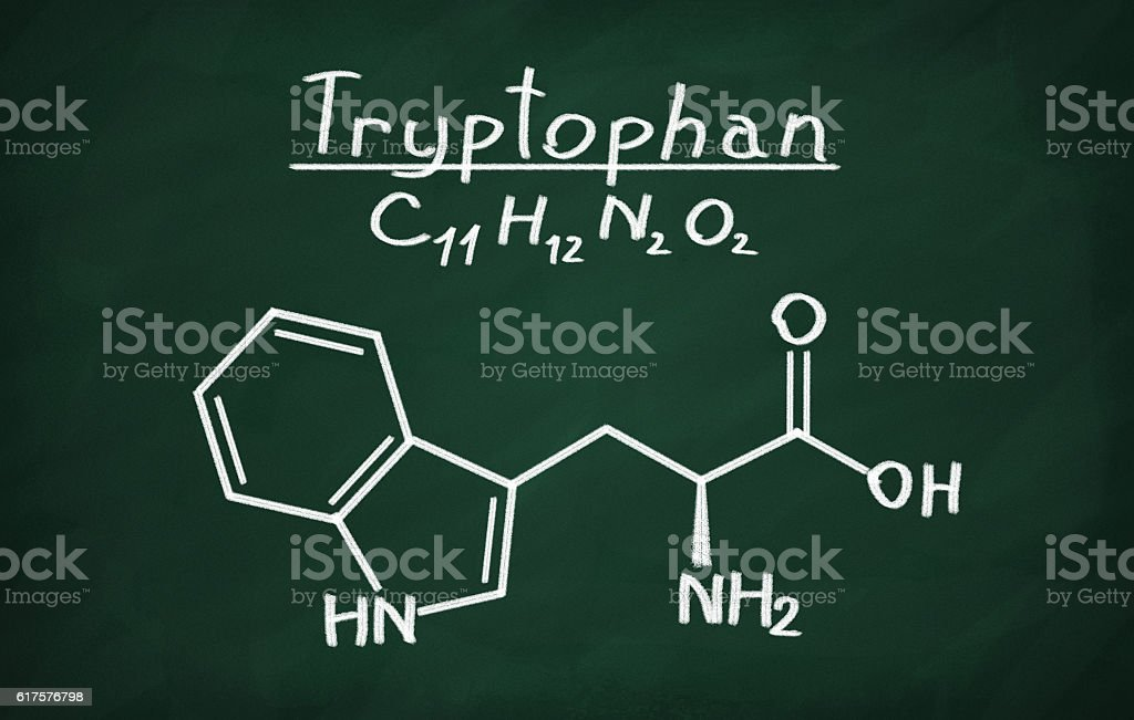 Structural model of Tryptophan stock photo