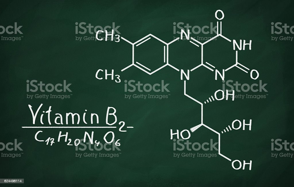 Structural model of Vitamin B2 (Riboflavin) stock photo