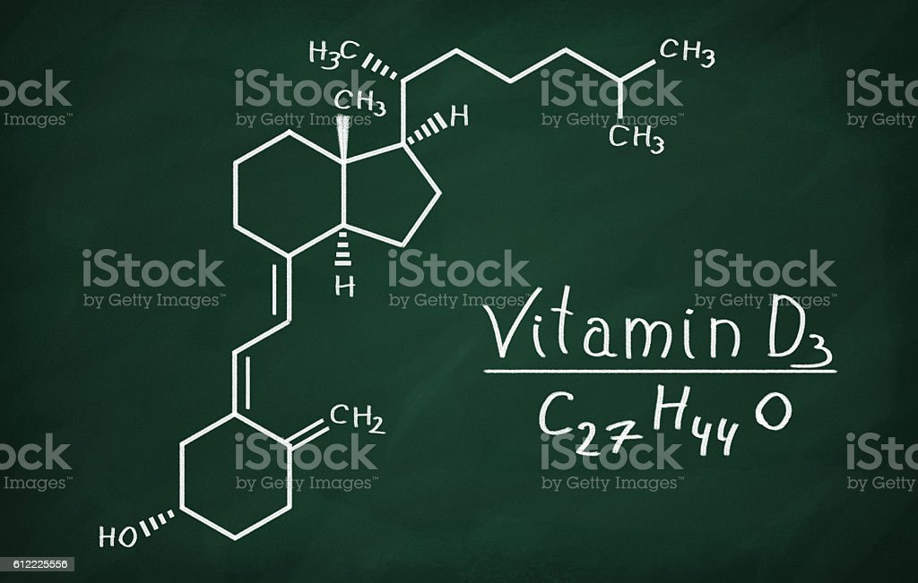 Structural model of Vitamin D3 molecule stock photo
