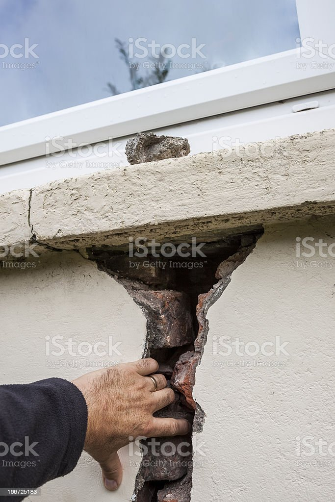 Structural problem: crack in wall royalty-free stock photo