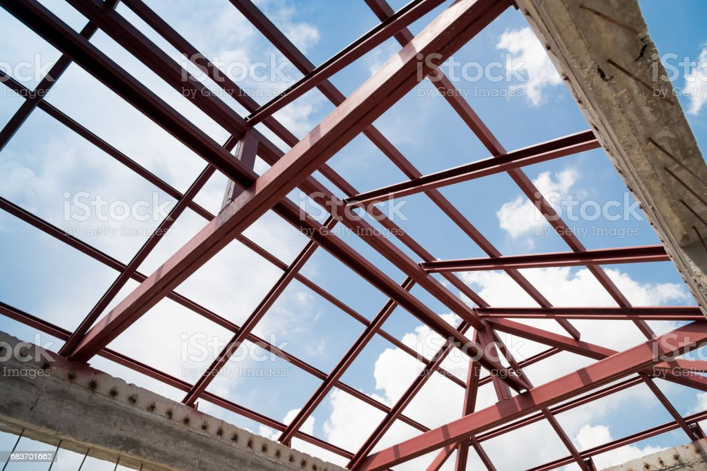 Structural Steel Beam On Roof Of Building Residential Construction
