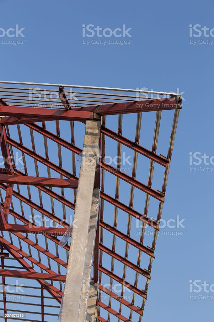 Structural Steel Beam On Roof Of Building Residential Stock Photo
