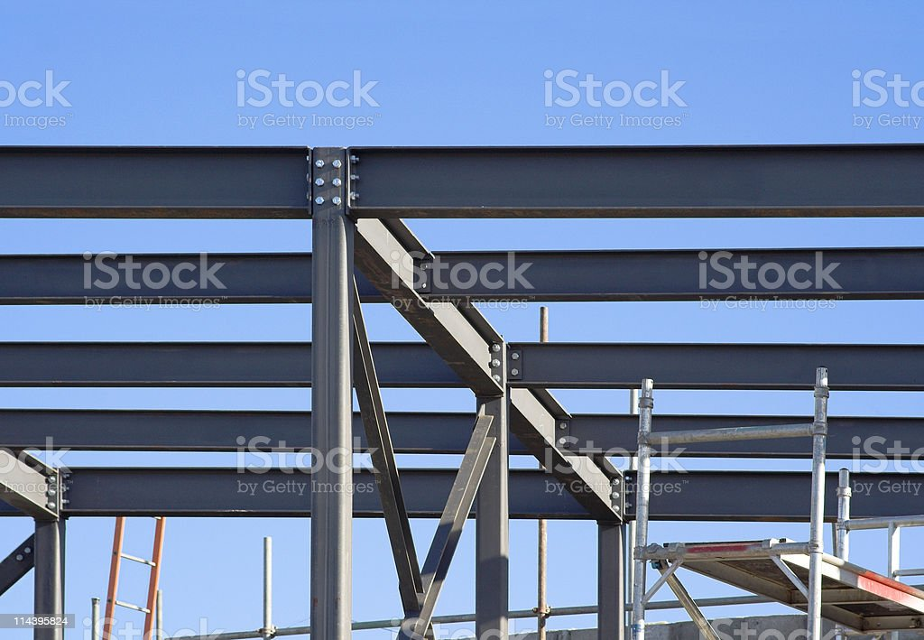 Structural Steelwork Against Blue Sky stock photo
