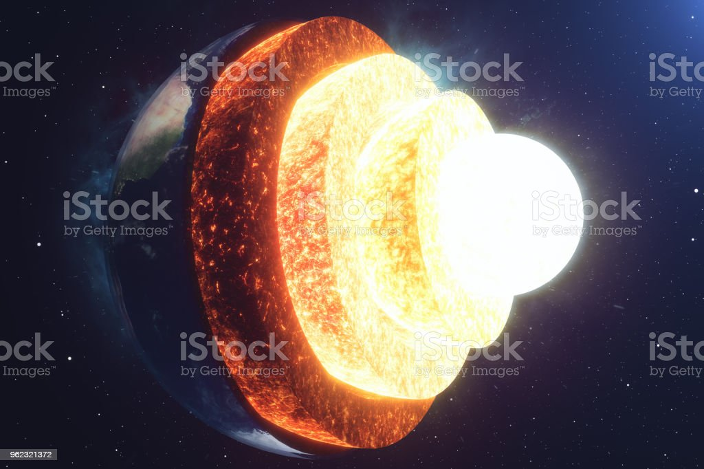 Structure core Earth. Structure layers of the earth. The structure of the earth's crust. Earth cross section in space view. Elements of this image furnished by NASA. 3D rendering stock photo