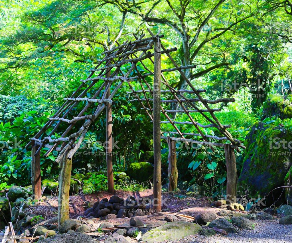 Structure in Waimea Falls stock photo