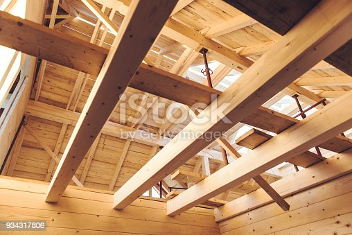 Structure of a wooden house under construction