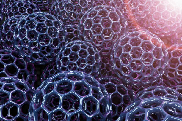 Structure of artificial hexagonal nano material. Graphene concept. Science & Technology. Conceptual abstract image with hexagonal molecular structure connection. 3D rendered illustration. Graphene concept. nanoparticle stock pictures, royalty-free photos & images