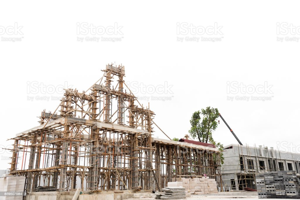 Structure of building under construction isolated on white background. stock photo
