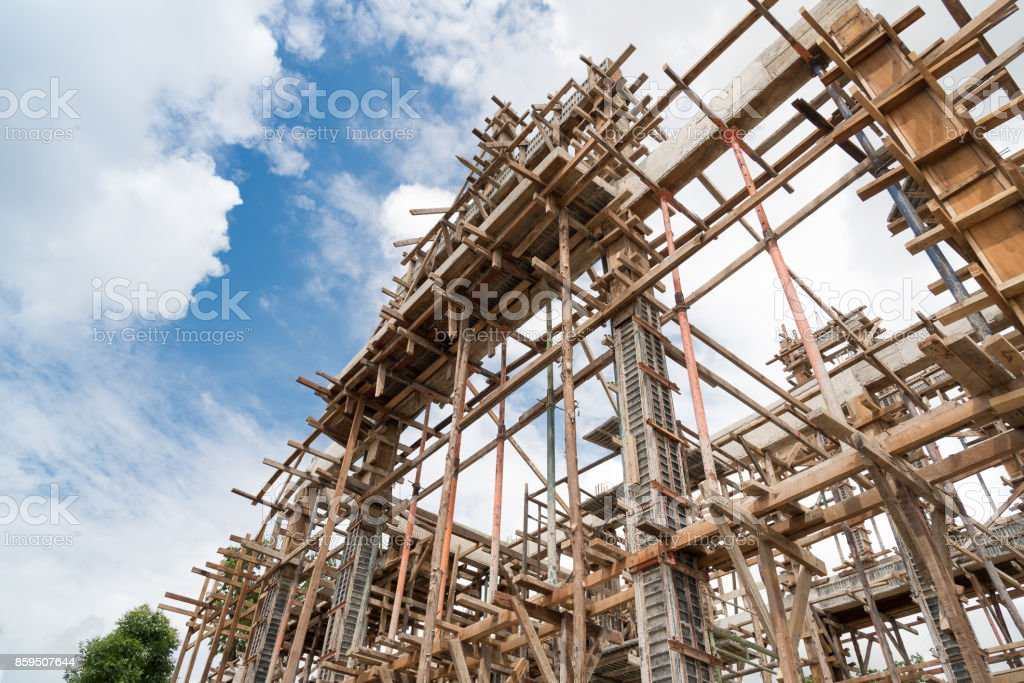 Structure of building under construction on construction site. stock photo
