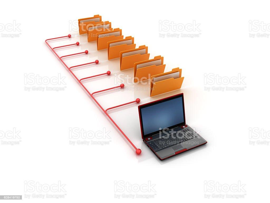 Structure of Computer Folders - 3D Rendering – Foto