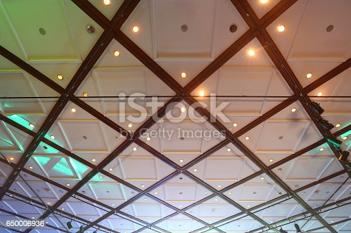 istock Structure of graphic Ceiling with lighting and shadow, abstract pattern 650006936