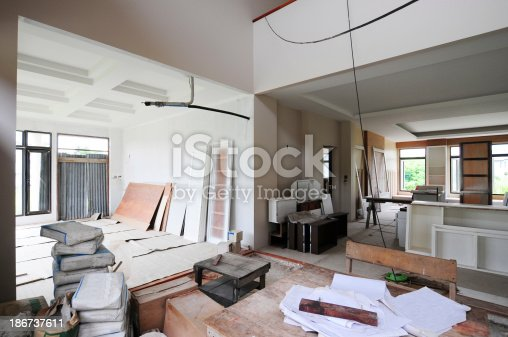 istock Structure of house in construction 186737611