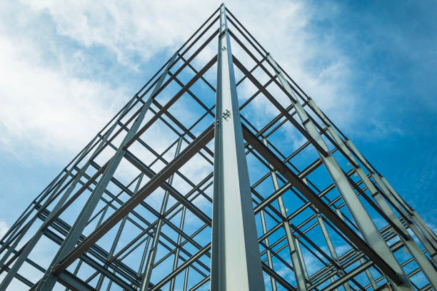 Structure of steel for building construction on sky background. building structures made of steel Consisting of strength By placing towering high into the sky. girder stock pictures, royalty-free photos & images