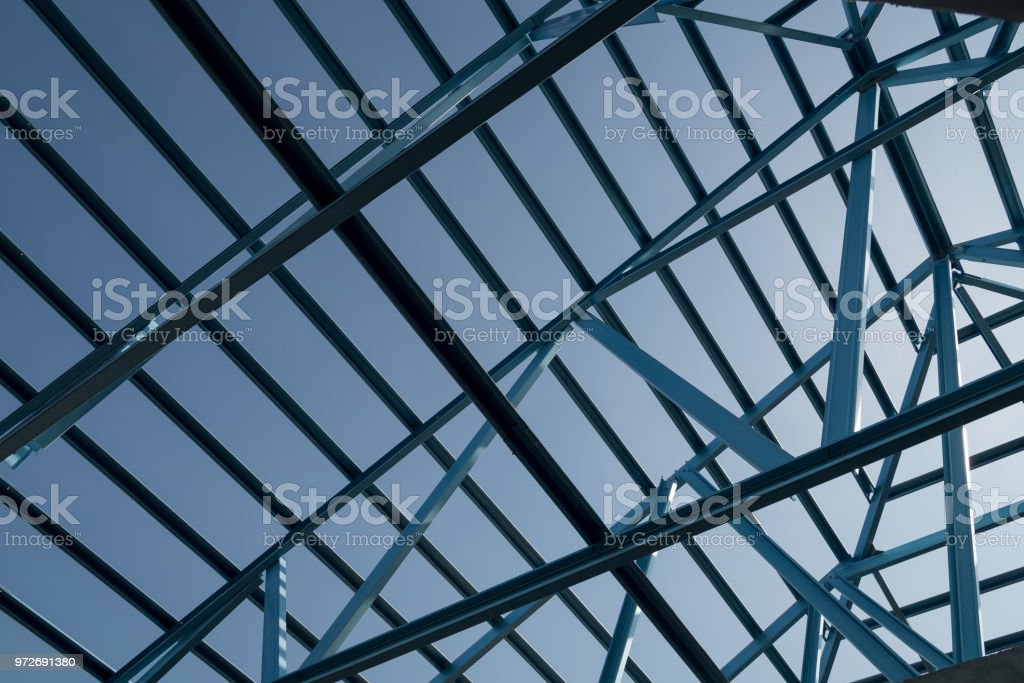 Structure of steel roof frame for building construction. stock photo