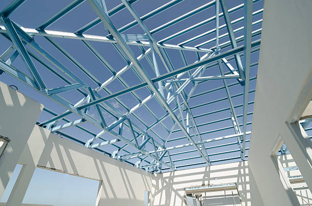 Structure of steel roof-04 Structure of steel roof frame for construction. girder stock pictures, royalty-free photos & images