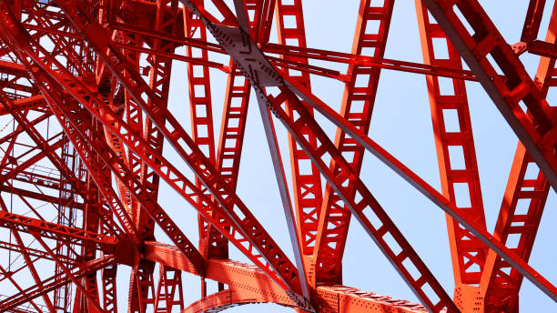 struktur aus stahl, tokyo tower - bogen bauen stock-fotos und bilder