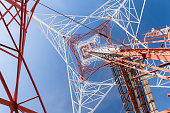 structure of tower communication on blue sky background