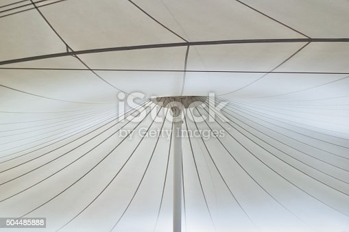 istock Structure of white canvas roof. 504485888
