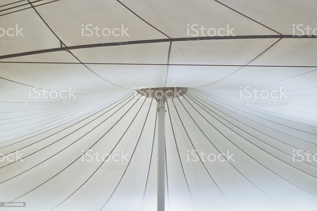 Structure of white canvas roof. stock photo