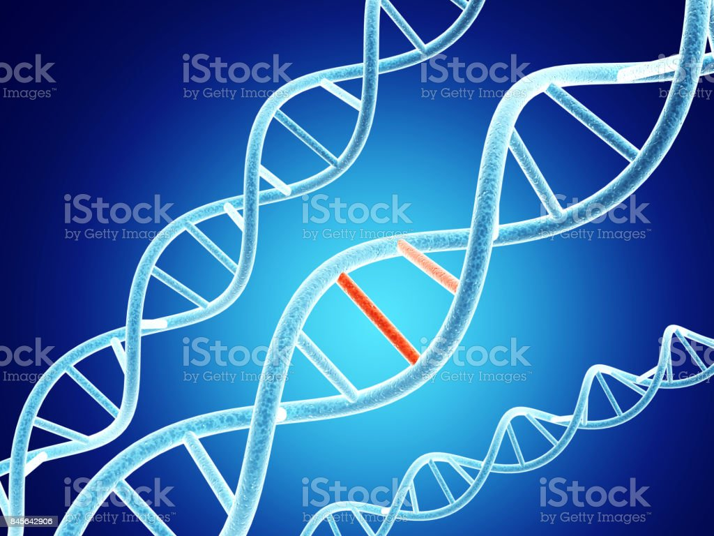 DNA structure with problem element stock photo