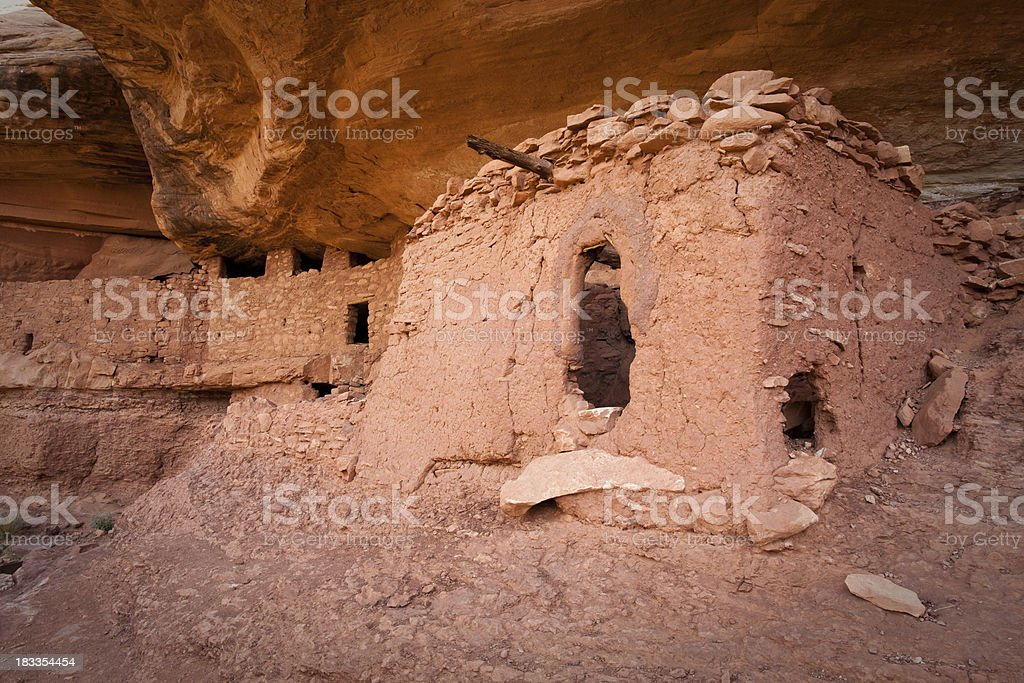 Structures of the Moon House Ruins stock photo