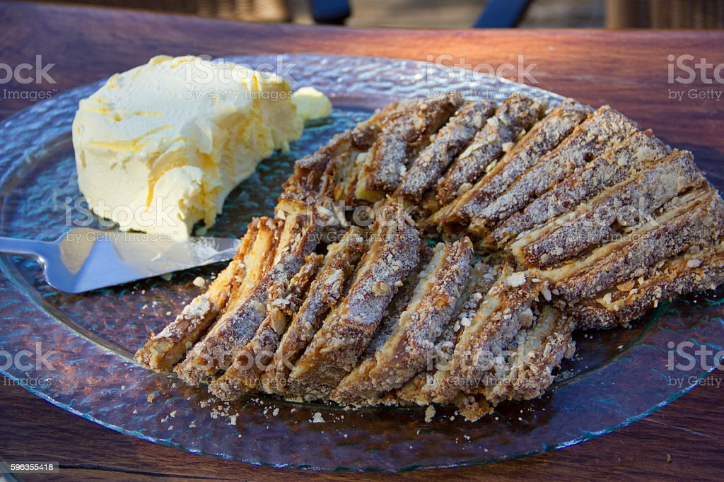 strudel cake with caramel and vanilla ice cream royalty-free stock photo