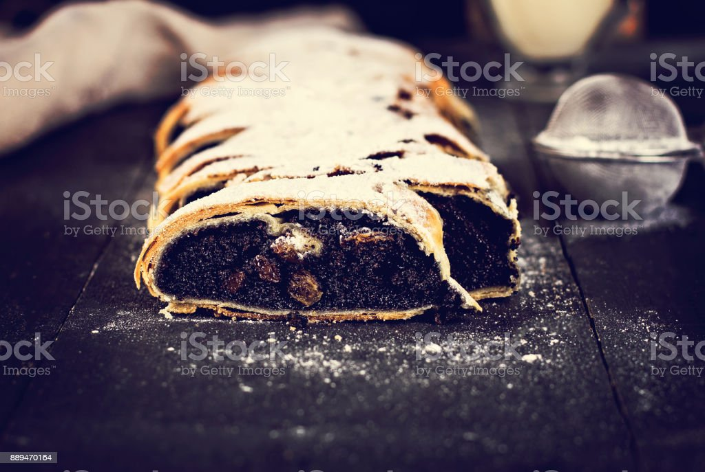 strudel on black background stock photo