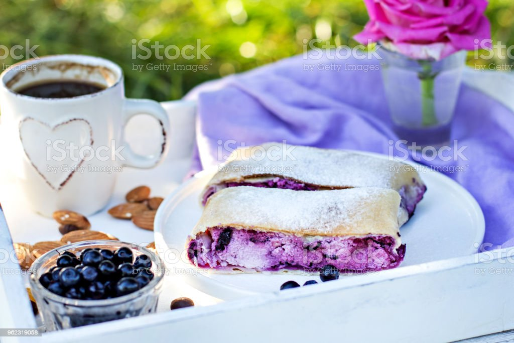 Strudel with blueberries. Pie, strudel with berries. stock photo
