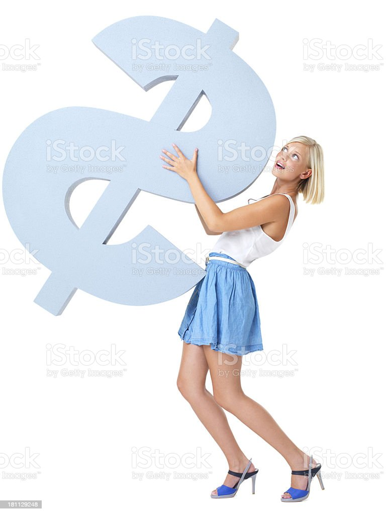 Struggling to carry cash pressures stock photo